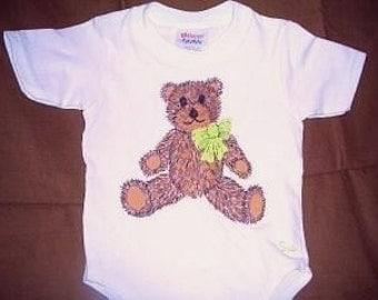 Teddy Bear Baby Bodysuit, Teddy Bear with Bow Infant Bodysuit, Bear Baby Bodysuit, New Baby Clothes