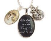 Fairytale necklace The owl and the pussy-cat romantic victorian charm pendant Limited Edition