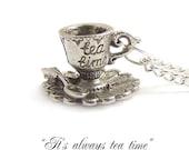 Alice in wonderland necklace ..It's always TEA time darling little teacup