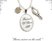 FAIREST of them all Snow White necklace .. apple and mirror charm fairytale necklace