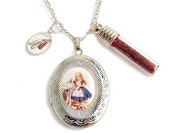 Alice in Wonderland charm locket with  DRINK ME glitter bottle necklace