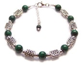 Sterling silver Celtic bracelet beautiful green Malachite - banded emerald green Malachite