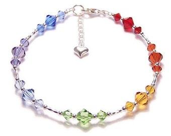 Sterling silver Chakra bracelet Sparkling Swarovski rainbow bracelet Reiki - amethyst, sapphire