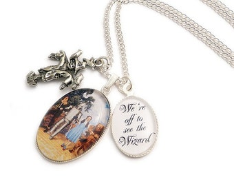 Wizard of Oz necklace We're off to see the Wizard yellow brick road charm pendant