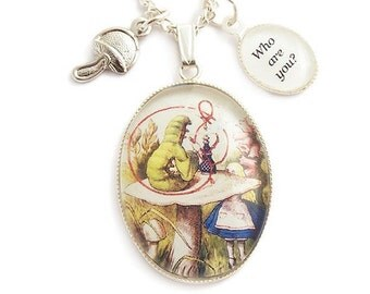 Alice in Wonderland necklace The Caterpillar .. WHO are YOU..