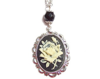 Victorian Steampunk necklace The black rose classic gothic cameo