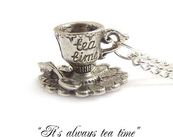 Tea cup necklace Alice in Wonderland necklace It's always TEA time