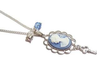 Victorian cameo necklace The KEY to my HEART blue Swarovski charm pendant