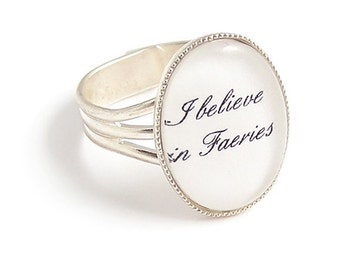 I believe in Faeries .. fairytale fairy ring adjustable silver plated