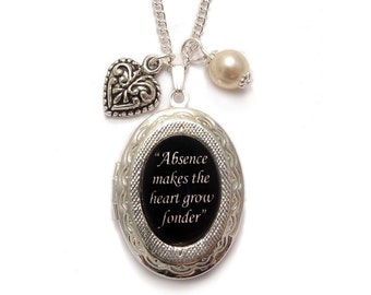 """Victorian charm necklace locket romantic """"Absence makes the heart grow fonder"""""""