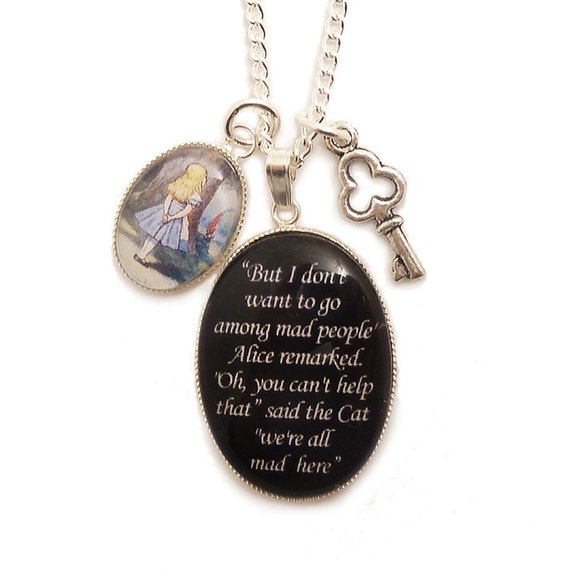 We're all mad here necklace Cheshire cat  Alice in Wonderland charm pendant