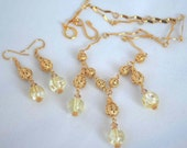 Etsy Holiday Sale - Crystal Victorian Lace..... light golden quartz crystal and swarovski crystals set with gold filigree adjustable length necklace and earring set also available in post or non pierced clip on