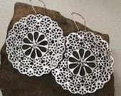large silver FLOWER  wheel EARrings