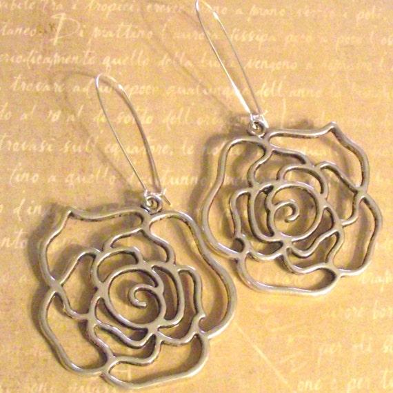 LARGE silver ROSE earrings BOHO floral gift idea