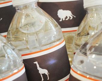 INSTANT DOWNLOAD (Digital) Sophisticated Safari Water Bottle Labels - Giraffe, Rhino, Lion, Elephant, Editable Fields - Brown, Orange, White