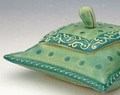 Trinket box - Pillow shaped in Aqua Turquoise Green
