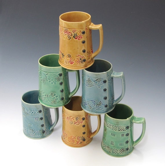 Handmade Coffee Mug in Colorful Ice Blue colors