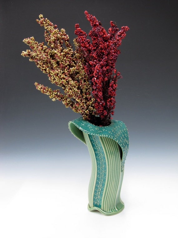 Elegant Vase in Turquoise green glaze inspired by Embroidered fabric