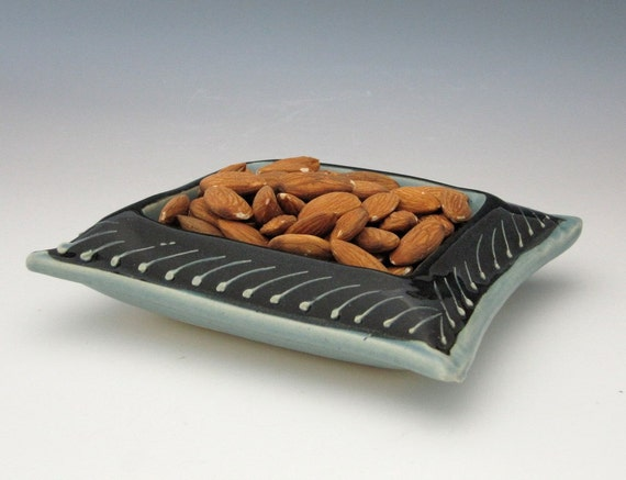 Pillow Shaped Square Bowl In Ice Blue Black by Charan Sachar