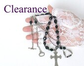 Clearance Rosary Style Cross Crystal Antique Silver Necklace