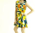 Vintage 1960s Tropical Hibiscus Floral Skort Dress