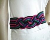 Vintage Belt 1980s Woven Braided Rainbow Cinch