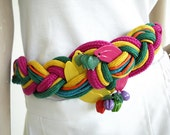 Vintage 1980s Belt Colorful Fruit Twist Cinch