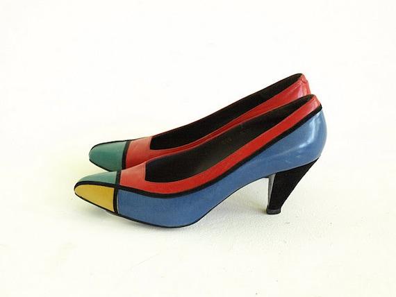 Vintage 1980s Shoe - Van Eli Mondrian Pump