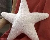 Medium White Starfish Pillow Handmade from Vintage Chenille /Popcorn /Hobnail Bedspreads- Great for Christmas!