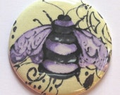 Pocket mirror purple bee fabric covered pocket mirror