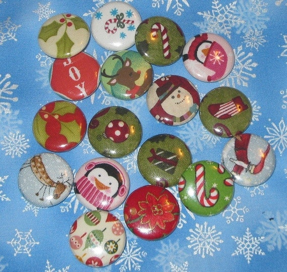 25 mini magnets or buttons for advent assorted Christmas themed fabric covered mini magnets or buttons
