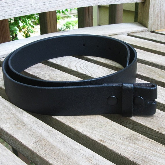 belt blank 1 5 inch wide snap on black leather large