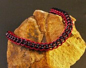 Chainmaille Bracelet In Vivid Purple And Black Anodized Aluminum It Is Light Weight And Can Be For Casual Or Dress Wear