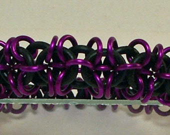 Origami Bracelet In Purple And Black Chainmaille Is Fun And Stretchy So No Clasp