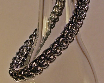 Bracelet Made In Woven Chainmaille Black Stainless Steel And Aluminum For Men And Women Custom Colors Available