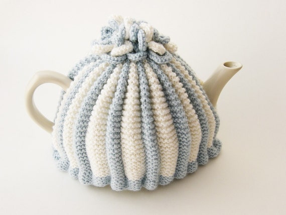 Knitted Tea Cosy - Light Blue and White