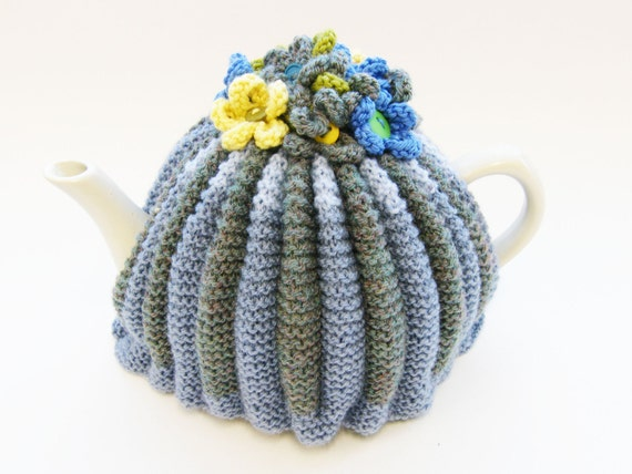 Knitted Tea Cosy - Shades of Blue with Knitted Flowers