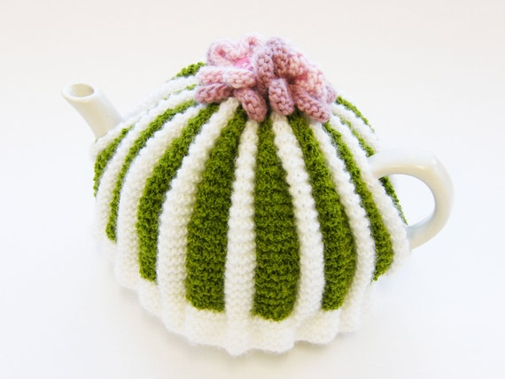 Knitted Tea Cosy - Green and White with Knitted Flowers