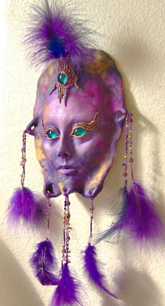 Wall Sculpture Purple Goddess Face Mask