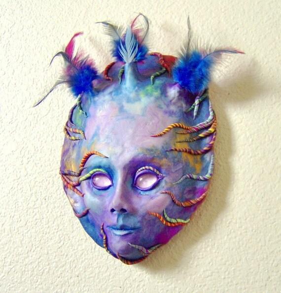 Purple Spirit Face Mask Sculpture