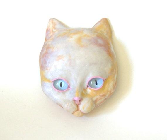 RESERVED For BARBARA Cat Face Mask Sculpture OOAK Blue Eyes