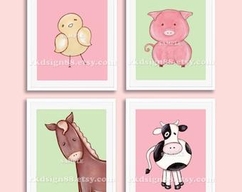 Nursery art, nursery decor, baby girl nursery, farm animals, kids wall art, baby decor, chick, horse, pig, cow set, 4 prints