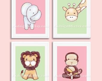 Nursery decor - baby girl nursery - baby wall art - safari animals - kids wall art - elephant - lion - giraffe - monkey - set 4 prints