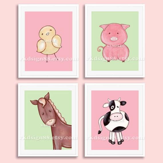 nursery art nursery decor baby girl nursery farm animals. Black Bedroom Furniture Sets. Home Design Ideas