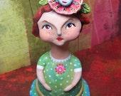 Sculpture Original Art Doll Paper Clay Girl named Poppy