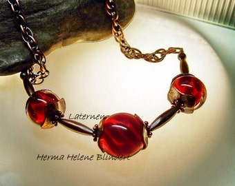 Collier Lanterns, Copper wire, Lampwork beads, red