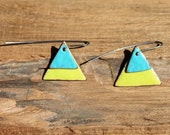 Enameled copper triangle earrings - blue and green