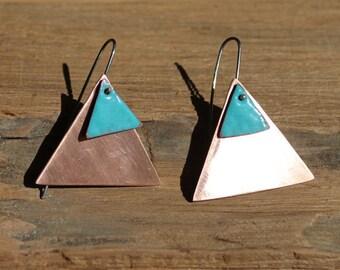 Triangle copper earrings, Geometric copper earrings, Turquoise earrings, Enamel earrings, Triangle blue earrings, Tribal earrings
