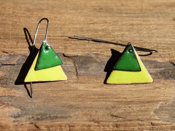 Green enamel copper earrings
