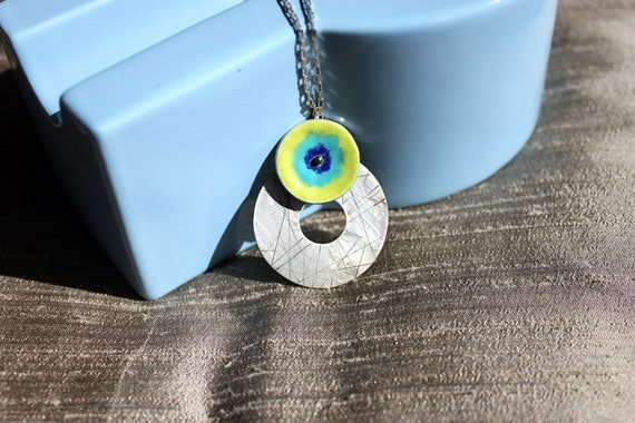 Silver pendant with enamel - Lime green, sapphire and cobalt blue - READY TO SHIP